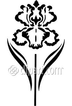 Iris clipart black and white #2