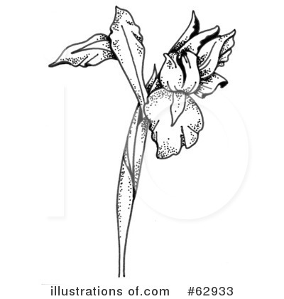 Iris clipart black and white #4