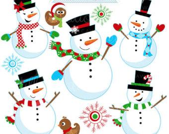 Irish clipart snowman Snow Snowmen Commercial Clipart Etsy