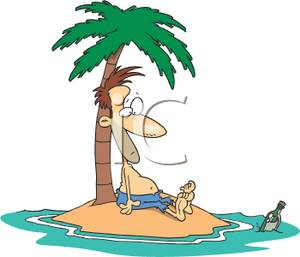 Palm Tree clipart deserted island  on a Message a