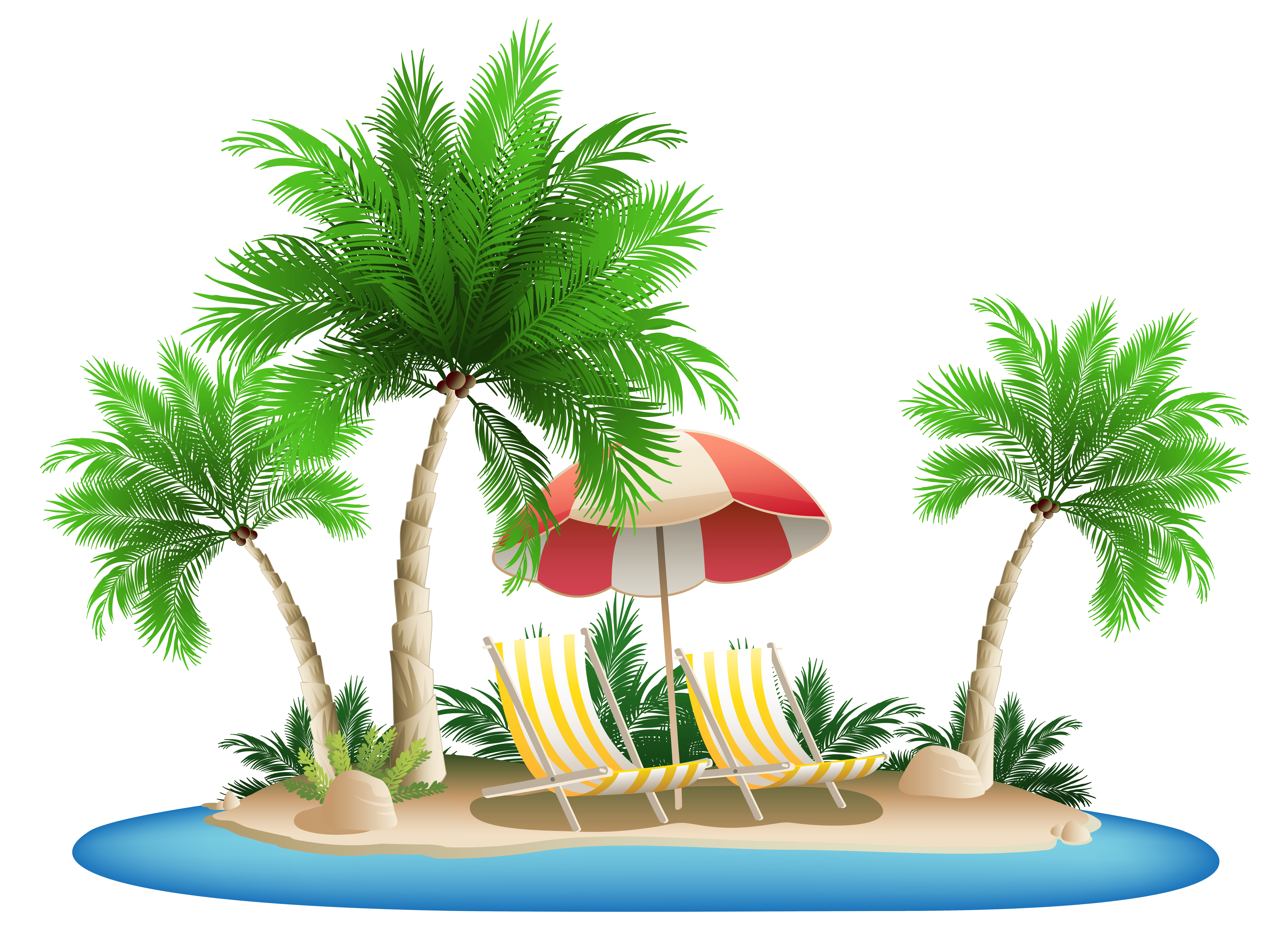 Vacation clipart beach umbrella Palm PNG  and Clipart
