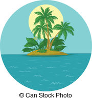 Islet clipart paradise Islet with palm vector Clipart