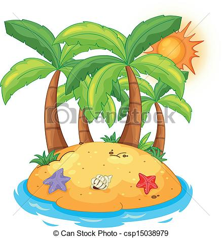 Islet clipart paradise With coconut trees Vectors Illustration