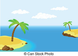 Islet clipart  a island with palm