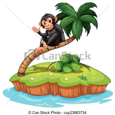 Islet clipart animated On above monkey coconut