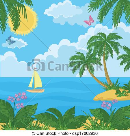 Islet clipart beach landscape Ship Landscape:  palm Landscape