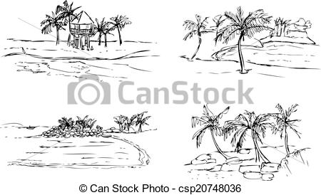 Islet clipart black and white Of vectors Tropical Beach Clipart