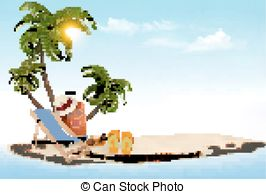 Islet clipart dream vacation Of beach Vacation with chair