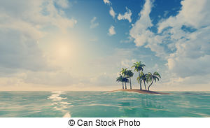 Islet clipart ocean sunset Tropical Tropical Small  among