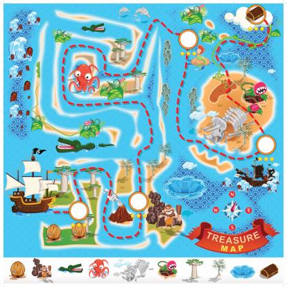 Islet clipart treasure map Treasure Vector Pirate Pirate Concept