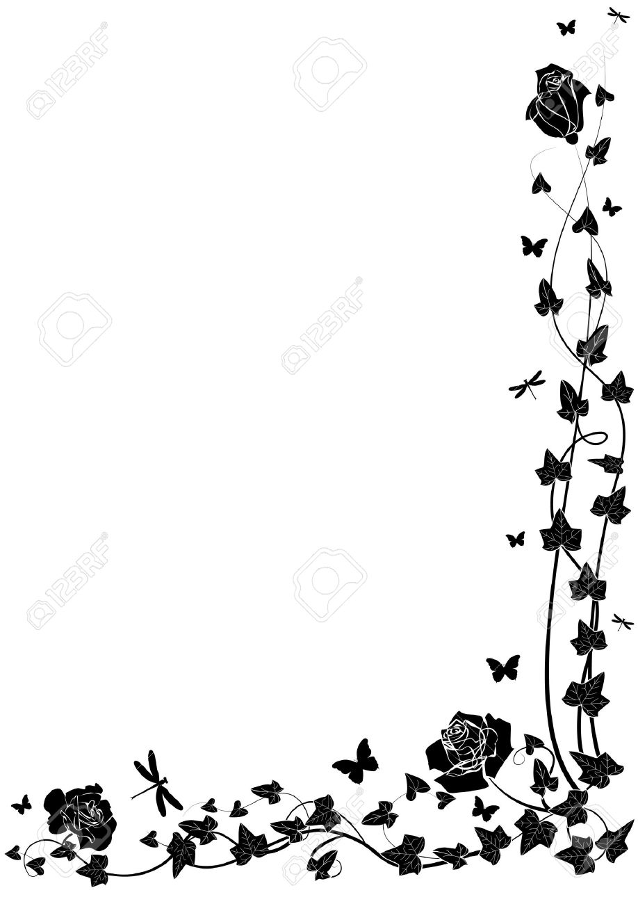 Ivy clipart line And white clipart black black