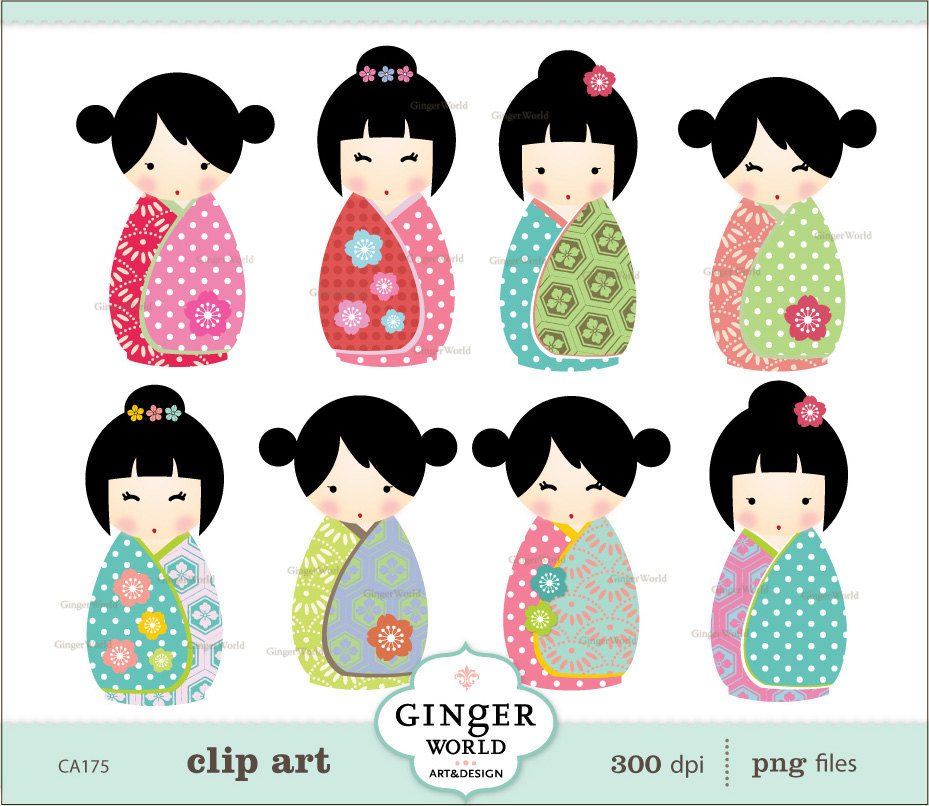 Doll clipart digital Digital kawaii kokeshi art similar