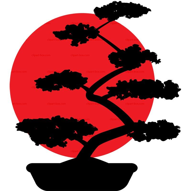 Bonsai clipart black and white Vector on Bonsai flag Pin