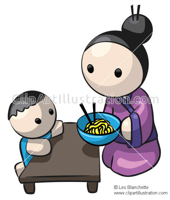 ClipArt Illustration Japanese/Asian Young Woman