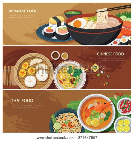 Asian clipart chinese border Food japanese design japanese flat