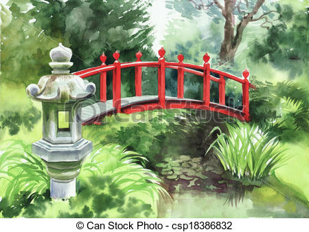 Japanese Garden clipart With style red red bridge