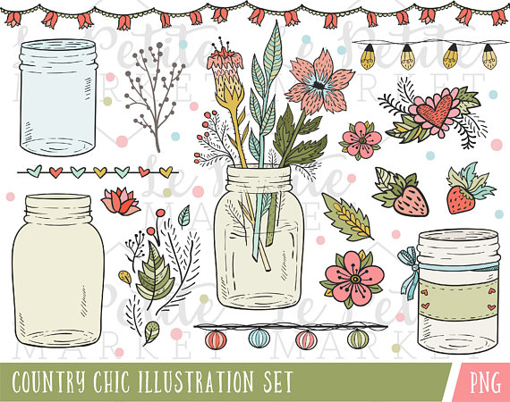 Jar clipart country Country  Wedding Art from