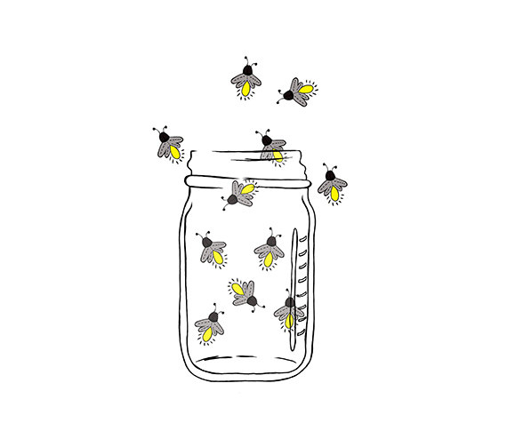 Lightening clipart sketch Jar Lightning Fireflies bugs Image