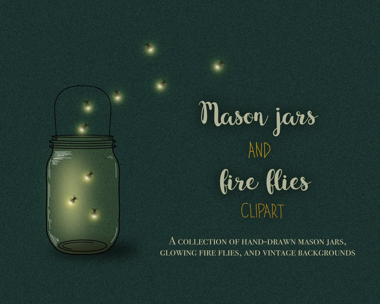 Mason Jar clipart bug jar Firefly digital a file fireflies