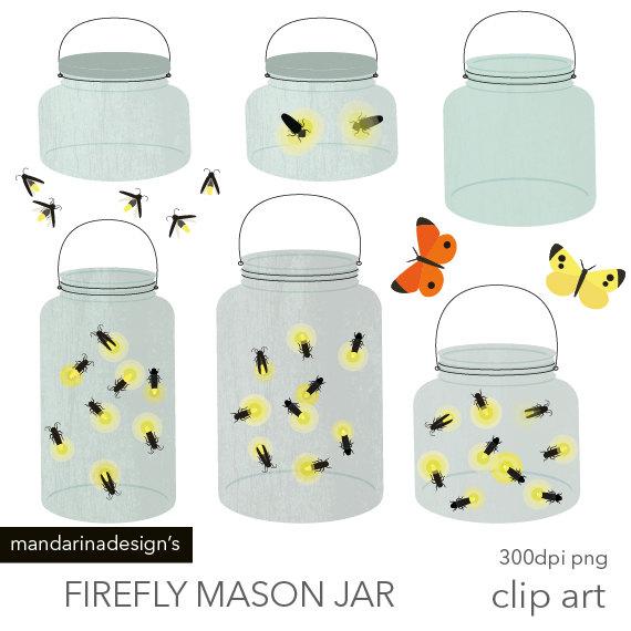 Mason Jar clipart bug jar Clip light Digital Fireflies bug