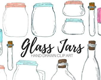 Jar clipart glass bottle Jar drawn clip art hand