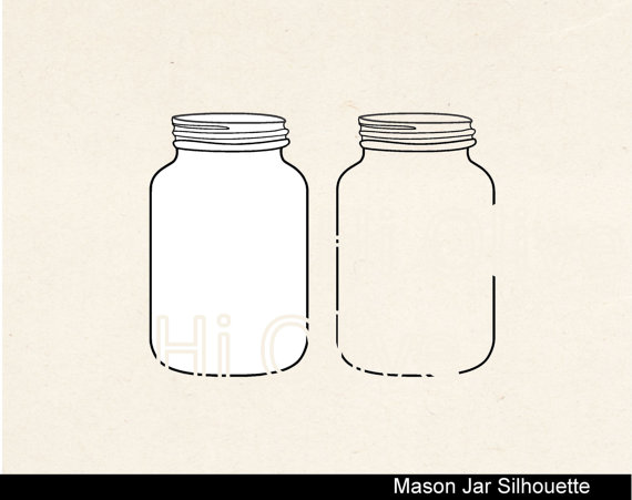 Mason Jar clipart glass jar Clip silhouette jars instant art