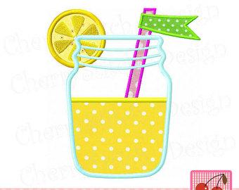 Jar clipart lemonade Applique Embroidery Lemonade Mason 6x6