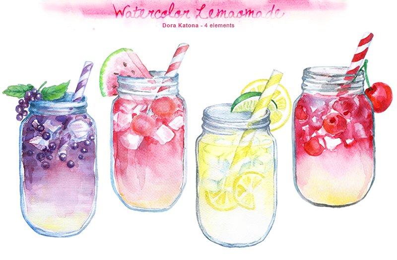 Water Color clipart mason jar lemonade Creative Illustrations  ~ Watercolor