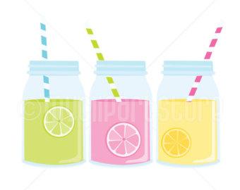 Water Color clipart mason jar lemonade Digital Clip art Clipart Clipart