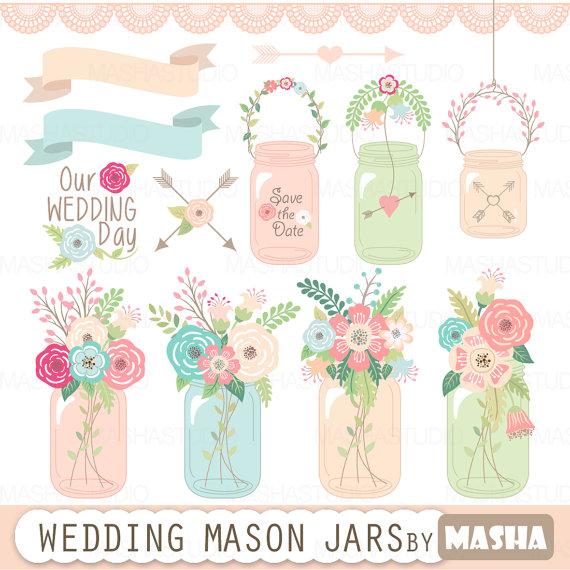 Mason Jar clipart mint green MASON clipart invitations Mason for