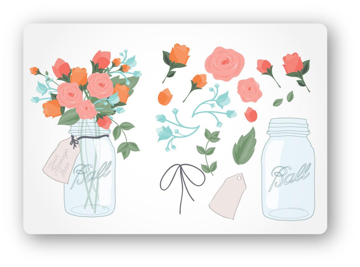 Jar clipart orange  Clip Digital Mason Bouquet
