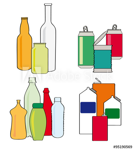 Jar clipart plastic container Of tins cans recycling vector