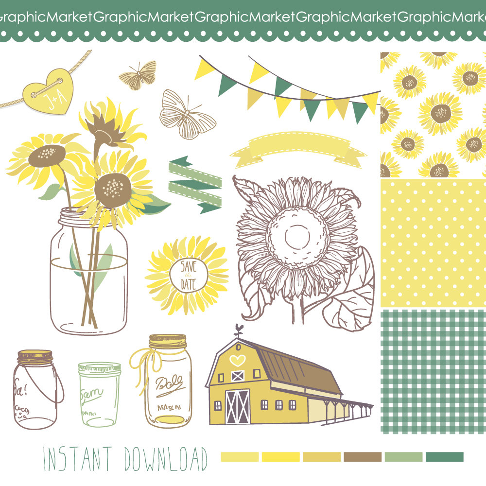 Mason Jar clipart southern  papers for Sunflowers Clip