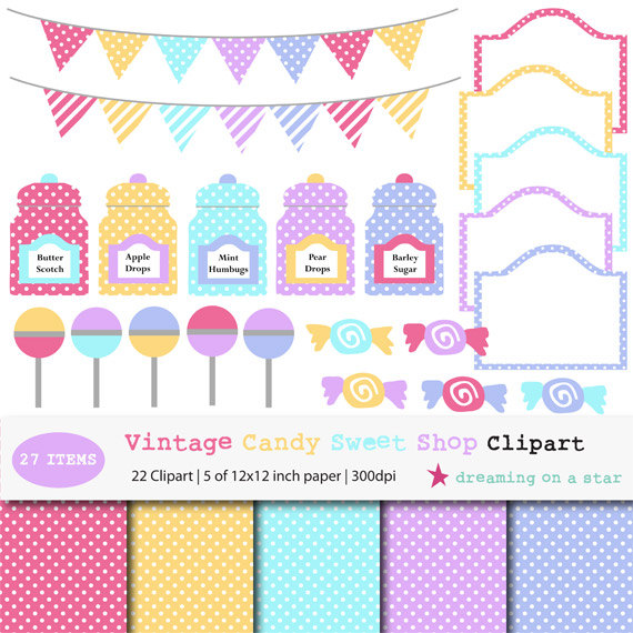 Sweets clipart collage Art Digital Candy Candy Candy