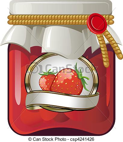 Jar clipart strawberry jam AI csp4241426 Vector of of