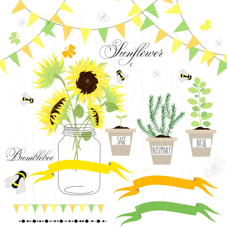 Mason Jar clipart southern Sunflowers scrapbooking Sunflowers art Wreath
