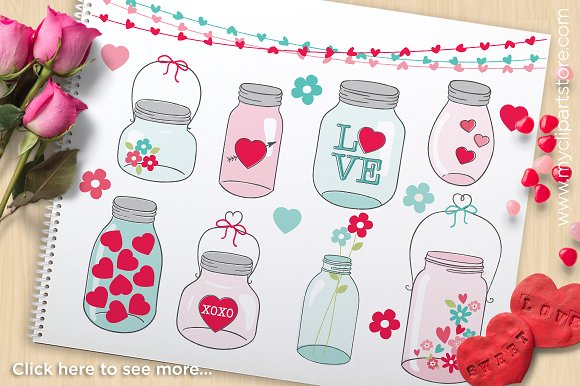 Jar clipart valentine Valentine ~ Mason Clipart Illustrations