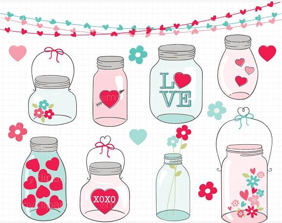 Jar clipart valentine  Market Illustrations Jars Mason