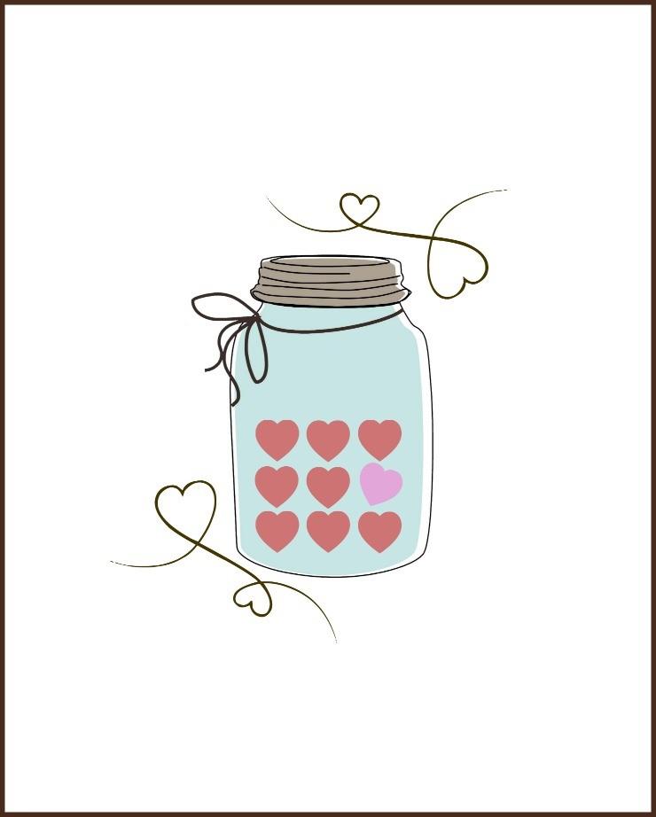 Jar clipart valentine  Printable Heart Candy Jar
