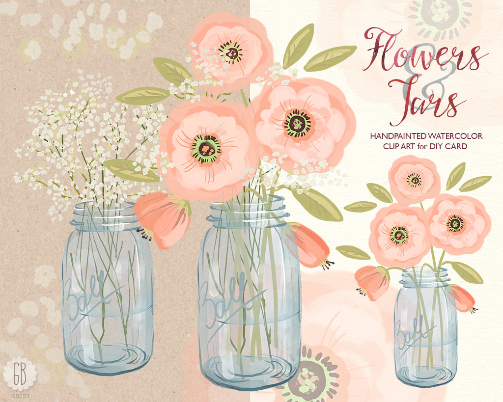 Bouquet clipart baby's breath Cream bouquet Watercolor clipart baby