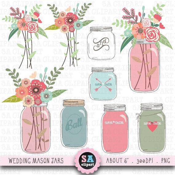 Vintage Flower clipart mason jar drawing Floral JAR