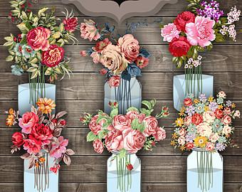 Mason Jar clipart transparent background Wedding transparent Clipart Clipart Bouquet