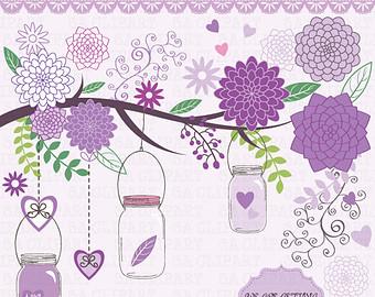 Vintage Flower clipart purple Art Download JAR