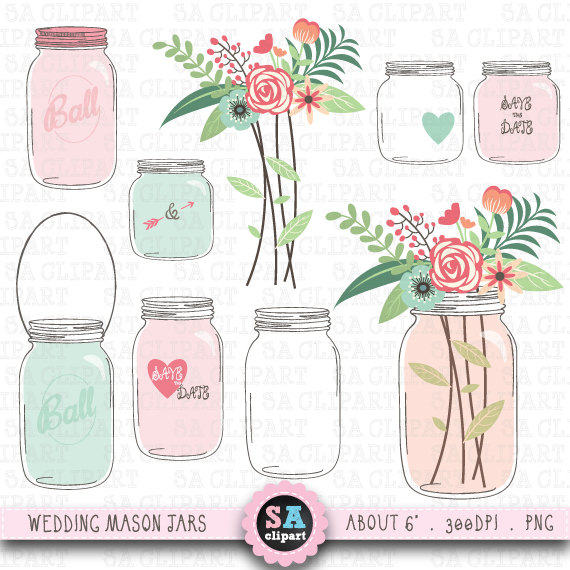 Vintage Flower clipart mason jar drawing Etsy JAR