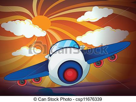 Jet clipart aeroplan Aeroplan and and sun Vectors
