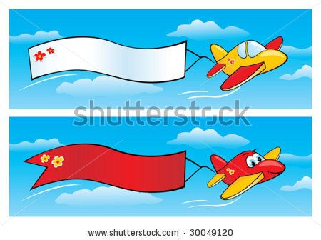 Jet clipart aeroplan Airplane Cartoon with Banner vector