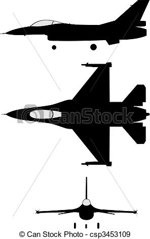 Jet clipart f 16 EPS of of jet F16
