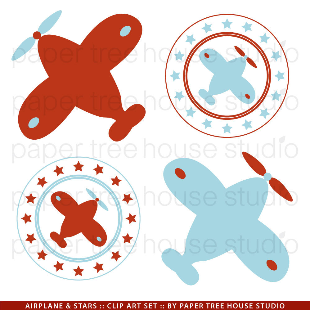 Pilot clipart red vintage airplane #2