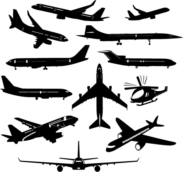 Drawn airplane graphic Silhouette download vector) commercial for