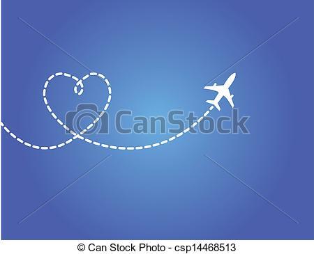 Jet clipart smoke Travel Love flying Concept Vector